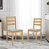 GOLDFAN Solid Wood Dining Chairs Set of 2 Wooden Style Kitchen Chairs Backrest with Faux Leather Cushion, Oak Finish