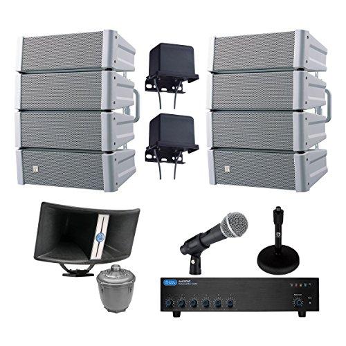Stadium Sound System 400 Watts, 6 Input Mixer Amplifier, 60 Watt Paging Horns, Line Array Speaker, Microphone