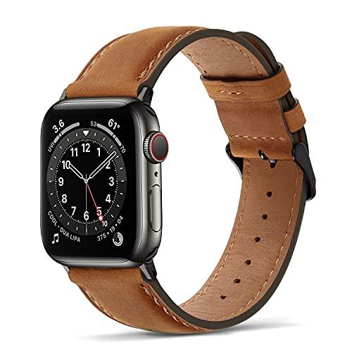 Tasikar per Cinturino Apple Watch 44 mm 42 mm Cinturini di Design in Vera Pelle Compatibile con Apple Watch SE Serie 6 Serie 5 Serie 4 (44mm) Serie 3 Serie 2 Serie 1 (42mm) - Marrone