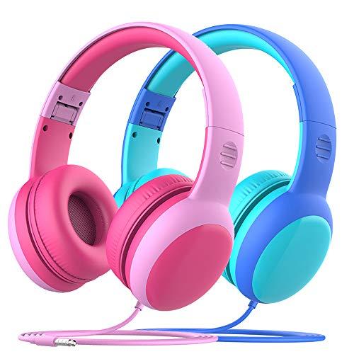 Gorsun Auriculares para niños, Volumen Limitado en el oído Auriculares para niños con Conector de Audio de 3.5 mm para niñas y niños, Auriculares con Cable Ajustable y Plegable -2 Pack