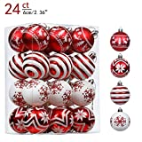 Valery Madelyn 24ct 60mm Traditional Red and White Christmas Ornaments, Shatterproof Christmas Ball Ornaments Decoration, Themed with Tree Skirt(Not Included)