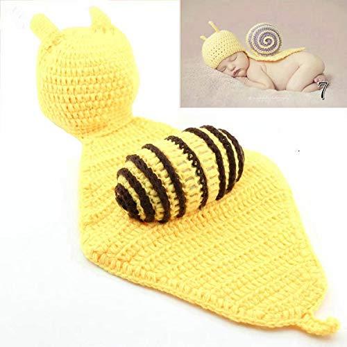 Waymeduo Lindo de la para bebé Atrezzo fotografía del recién nacido hecho a mano de ganchillo Beanie Hat ropa de bebé caracol