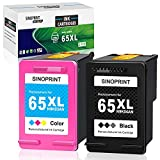 SINOPRINT Remanufactured Ink Cartridge 65 XL Replacement for HP 65 65XL Black Tri-Color Combo Ink Cartridges for HP Envy 5055 5052 5012 5010 DESKJET 3755 2622 3752 3720 2624 3722 3758, 2 Pack