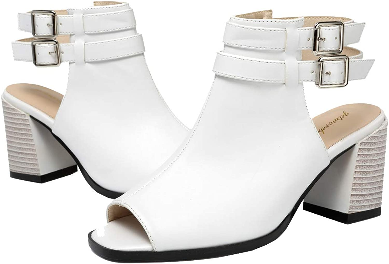 Getmorebeauty Women's Vintage Open Toes Cutout Chunky Stacked Heel Sandals Straps Ankle Bootie