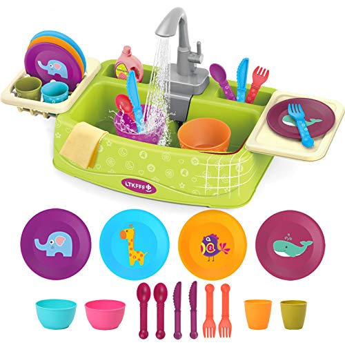 Kids Play Sink Toys with Running Water for Boy Girls Toddler 1-3, Outdoor Water Table Toys with Automatic Water Cycle System, Pretend Kitchen Cleaning Set Dish washer Sensory Toys Role Play Gift