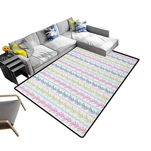 Felpudo para decoración del hogar, diseño geométrico, color verde y blanco, poliéster y mezcla de poliéster, Multi-07, 92x153 cm