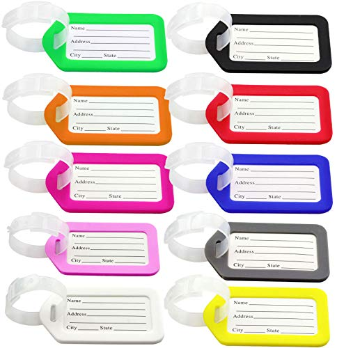 Luggage Tags, 10pcs Plastic Travel Luggage Baggage Handbag Tag Labels Suitcase ID Tags Labels