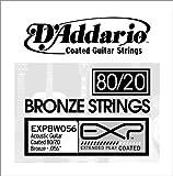 D'Addario EXPBW056 Corde seule en bronze 80/20 avec revêtement Calibre .056