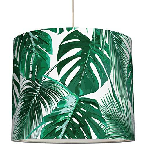 Anna Wand Lampenschirm/Hängelampe Tropische BLÄTTER/Monstera – Schirm für Lampe mit Pflanzen-Motiv – Sanftes Licht auch für Tischleuchte oder Stehlampe – ø 40 x 34 cm