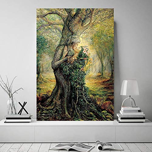 N/A Pittura su Tela Stampa Abstract Lovers Kissing Tree Leaf Pictures Poster And Prints Canvas Painting Wall Art for Living Room Home Decor Casa Muro Decorazione Regalo