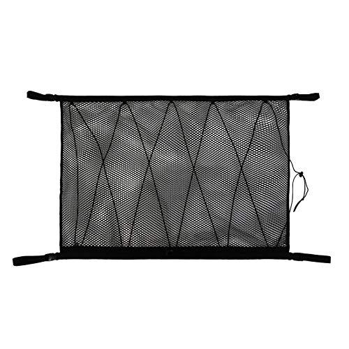 QPY Red de almacenamiento de techo para coche, organizador de coche, bolsa de almacenamiento interior con cremallera de doble cabeza para evitar caídas diseño para poner colcha/artículos de luz