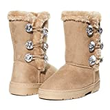 Girls Winter Boots Size 3 with Sparkling Rhinestones and Fur Trims Shoes Tan/Gold