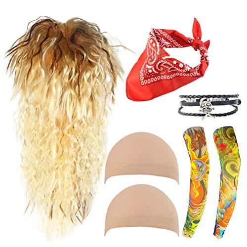 80s Rocker Costumes Set, Miayon 6pcs Men's Rock Star Heavy Metal Wig Set Halloween Costume Accessories