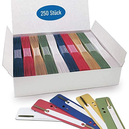 250 Heftstreifen aus Recycling-Karton in 5 Farben, Akten-Dulli farbig sortiert, einhänge Abheft-Steifen aus Karton, 10 Bündel á 25 Stück