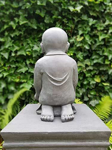 Figur Shaolin Mönch lesend mit Buch – für Haus und Garten – Höhe 42 cm – grau - 5