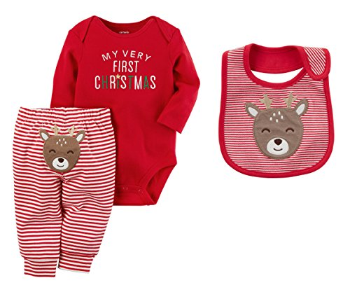 Carters Baby Girls My First Christmas Bodysuit and Pants Set With Reindeer Bib (3 Months)