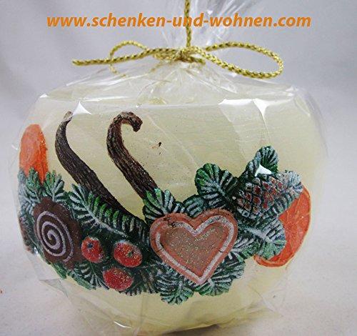 Wachswindlicht mit Weihnachtsmotiv, Creme Lebkuchen ca. 12 cm Durchmesser