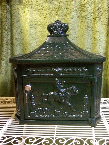 Antikas - Briefkasten, Wandbriefkasten im historischen Stil, grün rostfrei Alu