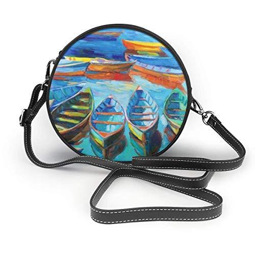 Nigel Tomm Peinture à l'huile de bateaux et de mer bandoulière sac en cuir rond sacs à main sac messager pour femmes