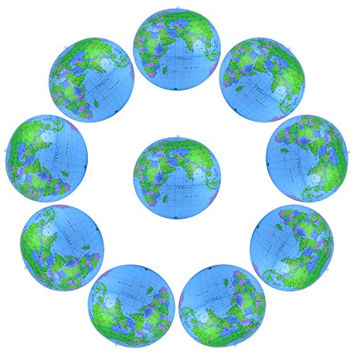 Coopay 10 Pack Inflatable Globe PVC World Globe Inflatable Earth Beach Ball for Beach Playing or...