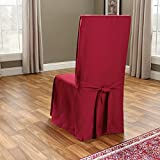 SureFit SF33880 Cotton Duck Heavyweight Dining Room Chair Cover, Claret