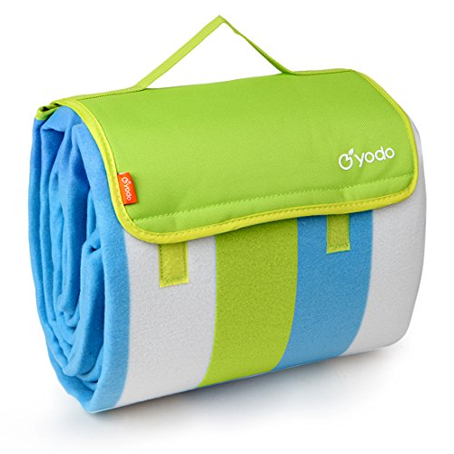 """yodo Extra Large Outdoor Waterproof Picnic Blanket Tote 79"""" x 79"""",Green Stripe"""