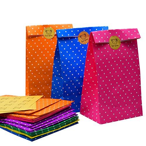 ZKSM 24 Pièces Sac Cadeau Pochette Cadeau Papier Multicolore Pochettes Sac et 32Pcs Autocollant Rond Cadeaux pour Bonbons, Mariage ou Anniversaire