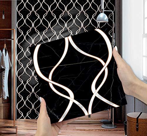 Orumrud Pegatinas de Pared Pegatinas para Azulejos Tamaño 15x15cm /20x20cm Estilo de Mármol Negro Adhesivo de Vinilo Decorativo para Azulejos de Baño Cocina Dormitorio Decorativo