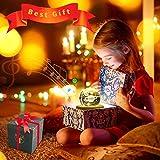 DUTISON Kristallkugel Spieluhr, 360° Rotierende hölzerne Spieluhr mit Licht, Beleuchtete Projektionsfunktion, Geschenk für Weihnachten, Erntedankfest, Geburtstag - 6