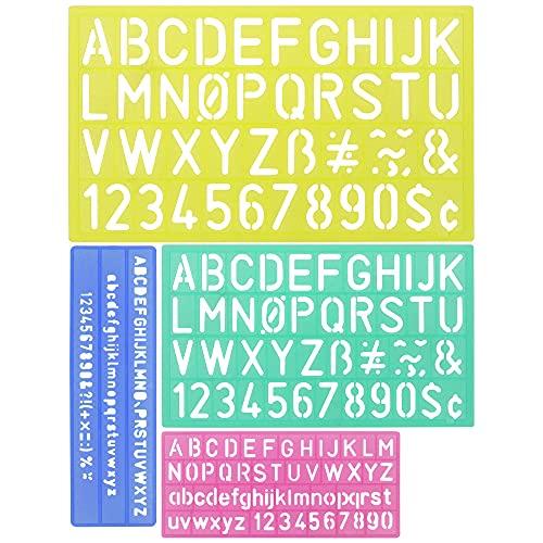 DECARETA 4 Piezas Plantilla de Letras de Regla Hueca,Plantilla de Alfabeto Reutilizable de Plástico Set de Guías, Plantilla Estándar de Números para Niños Escritura,Pintura, Regla-Azul