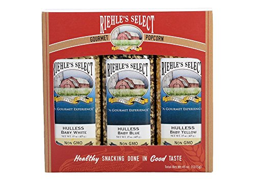 Riehle's Select Popping Corn 3-Pack 'Hulless' Gourmet Popcorn