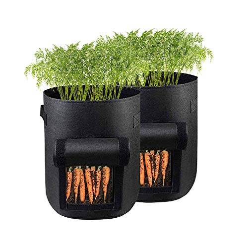 Plant Grow Bag,2 Pack Garden Planting Bags,7 Gallon Vegetables Growing Container Cultivation Planting Pots with Handles,Drain Hole & Large Harvest Window,for Carrot Tomato Fruits and Sweet Potato