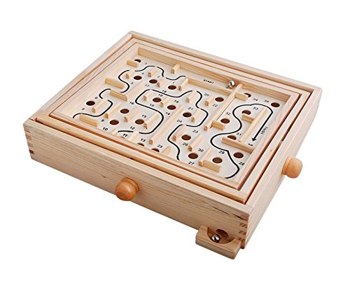 Topwon Wood Labyrinth Table Maze/Balance Board Table Maze Solitaire Game for Kids and Adults - Large - Great Gift