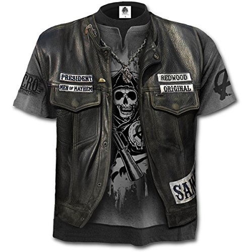Sons Of Anarchy - Jax Wrap, fantaisie en métal gothique all over print hommes unisexe T-shirt gris - L - Spiral