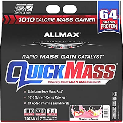 ALLMAX Nutrition QuickMass Rapid Mass Gain Catalyst, Strawberry Banana, 12 Pound