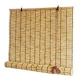 Cortina opaca- Cortinas de caña Que se Pueden Subir y Bajar, persianas de bambú Impermeables, Decorativas con particiones, persianas enrollables para Uso en Interiores y Exteriores ✔