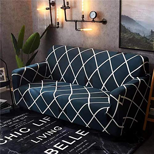 House of Quirk Universal Single Seater Sofa Cover Big Elasticity Cover for Couch Flexible Stretch Sofa Slipcover (Single Seater, Blue Diamond)