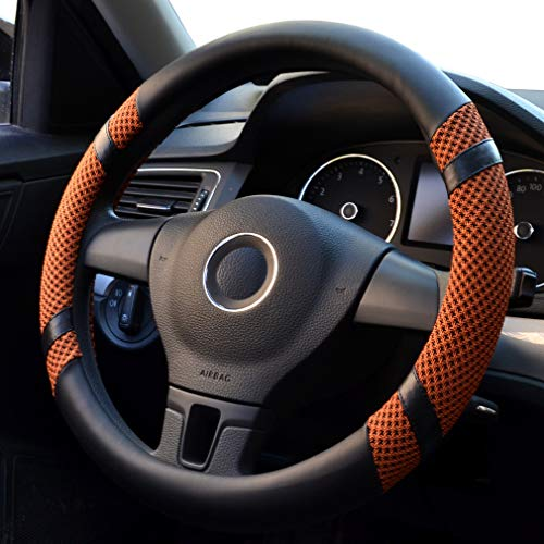 coofig Leather Hand Sewing Fashion, Breathable, Skidproof Car Steering Wheel Cover Universal 15inch Warm in Winter Cool in Summer (Orange)