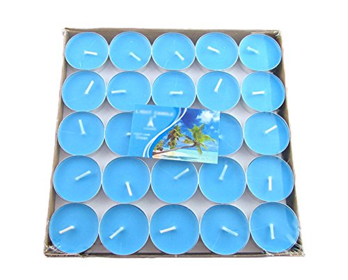 lumanuby 50x Velas para bar/cantinas pequeños velas de parafina para fiestas/Cumpleaños, Vela Serie (Azul Redondo)