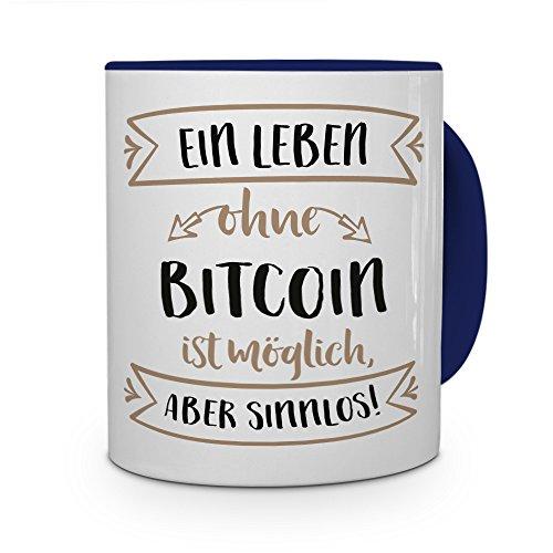 printplanet® Tasse mit Aufdruck Bitcoin - Motiv Sinnlos - Namenstasse, Kaffeebecher, Mug, Becher, Kaffeetasse - Farbe Blau