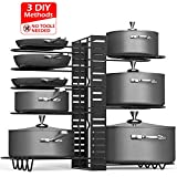 Pan Organizer Rack for Cabinet, Duerer Pots and Pans Organizer with 3 DIY Methods, 8 Tiers Adjustable Height and Position, Pot Holder Rack Fit for Kitchen Counter and Cabinet, Lid Organizer - Black