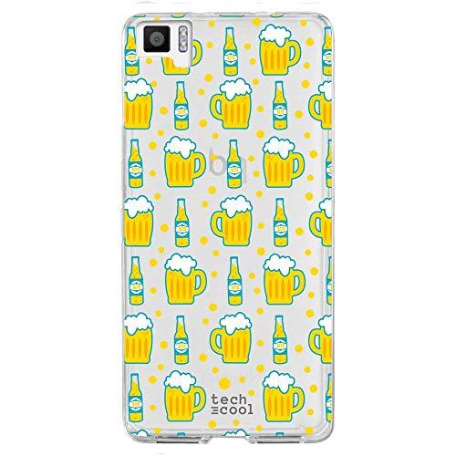Funnytech® Funda Silicona para BQ Aquaris M5 [Gel Silicona Flexible, Diseño Exclusivo] Cervezas Transparente