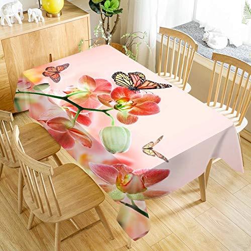 XXDD Mantel de Flores de orquídea Mantel Lavable a Prueba de Polvo Mantel Rectangular de Boda para Mantel de Restaurante A19 140x200cm