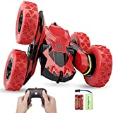 Haktoys Remote Control Stunt Car | Red Radio Control Invincible Tornado Twister Truck | Rechargeable with Flashing LED Lights & Quiet Play Mode | 360° Tumbling & Spinning Action RC Car for Kids