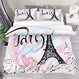 Painted Eiffel Tower in Paris 3 Piece Bedding Full Size Duvet Cover Sets Printed Comforter Bed Sheets with 2 Pillow Cases Shams with Zipper Closure for Kids Teen Boys Girls