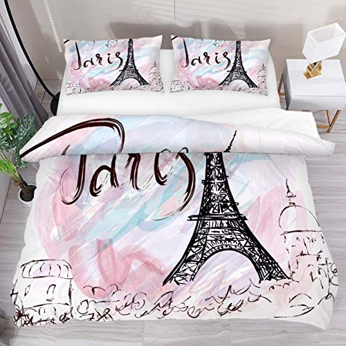 QIAOSHENG Painted Eiffel Tower in Paris 3 Piece Bedding Comforter Bedding Sheets Duvet Cover Set Printed with 2 Pillow Cases Shams with Zipper Closure for Kids Teen Boys Girls-Queen Size