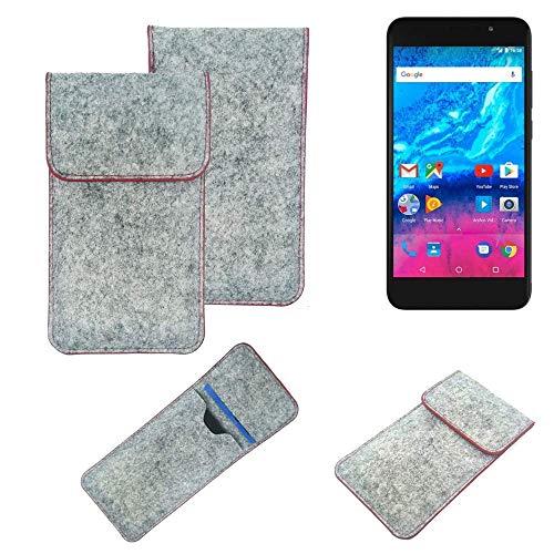K-S-Trade Handy Schutz Hülle Für Archos Core 55P Schutzhülle Handyhülle Filztasche Pouch Tasche Hülle Sleeve Filzhülle Hellgrau Roter Rand