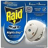 Raid Diffuseur Électrique Night&Day Mouches, Moustiques Et Moustiques Tigres, 1 Diffuseur + 1 Recharge 240 Heures