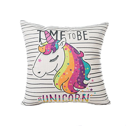 Bonitas fundas de cojín de unicornio para sofá, cama, sala de estar, dormitorio, decoración del hogar, Excelsio personalizado cuadrado algodón lino fundas de cojín 45 x 45 cm