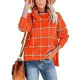 SERAPHY Maglione da Donna Felpe Invernali Calde Collo Alto Plaid Maglia Top Abbigliamento ...